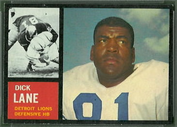Dick Lane 1962 Topps football card