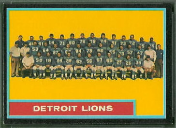 Detroit Lions Team 1962 Topps football card