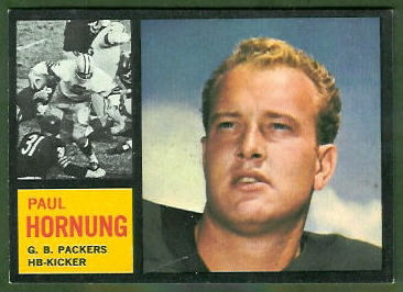 Paul Hornung 1962 Topps football card