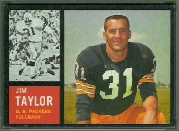 Jim Taylor 1962 Topps football card