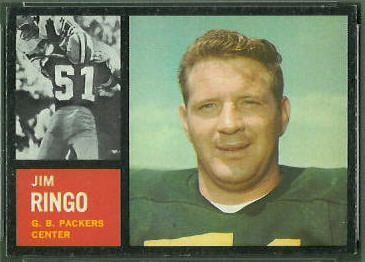 Jim Ringo 1962 Topps football card