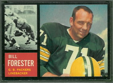 Bill Forester 1962 Topps football card