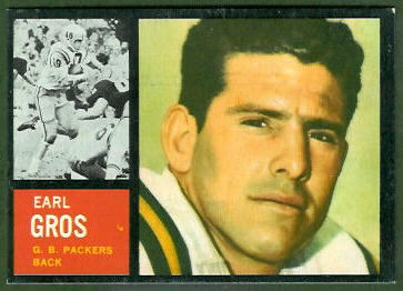 Earl Gros 1962 Topps football card