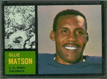 Ollie Matson 1962 Topps football card