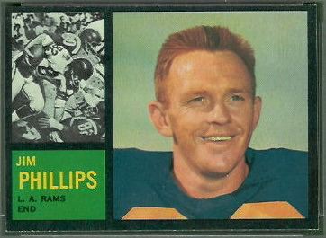 Jim Phillips 1962 Topps football card
