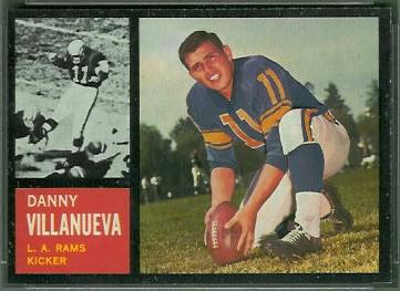 Danny Villanueva 1962 Topps football card