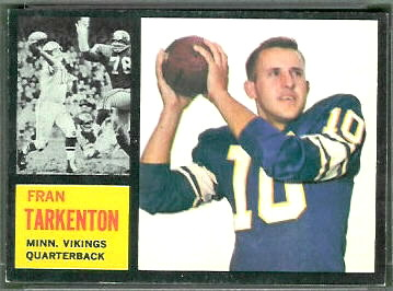 Fran Tarkenton 1962 Topps football card