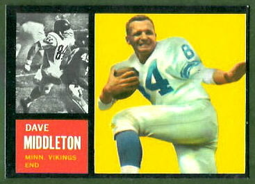 Dave Middleton 1962 Topps football card