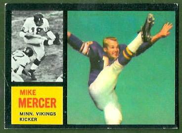 Mike Mercer 1962 Topps football card