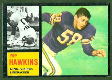 Rip Hawkins 1962 Topps football card