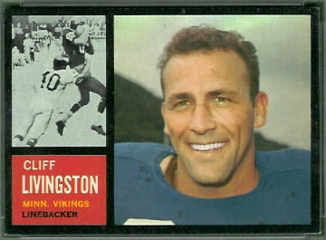 Cliff Livingston 1962 Topps football card