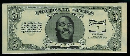 J.D. Smith 1962 Topps Bucks football card