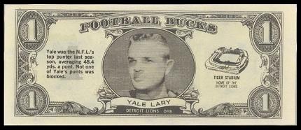 Yale Lary 1962 Topps Bucks football card