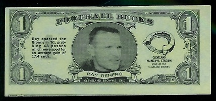 Ray Renfro 1962 Topps Bucks football card