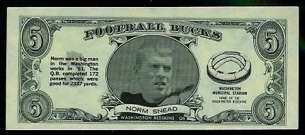 Norm Snead 1962 Topps Bucks football card