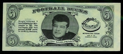 Hugh McElhenny 1962 Topps Bucks football card