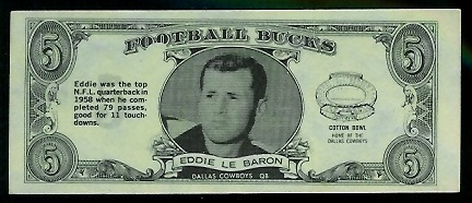 Eddie LeBaron 1962 Topps Bucks football card