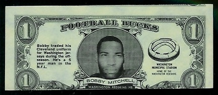 Bobby Mitchell 1962 Topps Bucks football card
