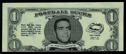 Nick Pietrosante 1962 Topps Bucks football card