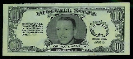 John Unitas 1962 Topps Bucks football card