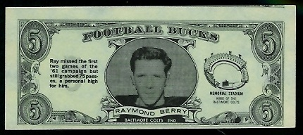 Raymond Berry 1962 Topps Bucks football card