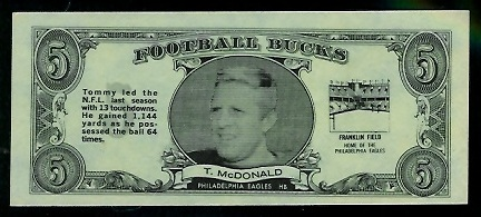 Tommy McDonald 1962 Topps Bucks football card