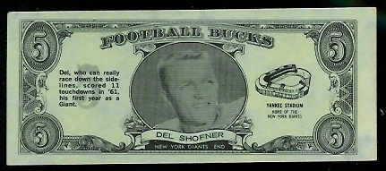 Del Shofner 1962 Topps Bucks football card