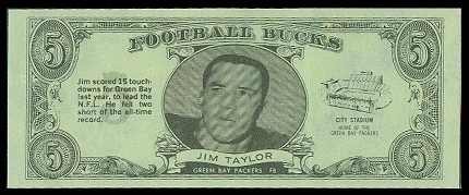 Jim Taylor 1962 Topps Bucks football card