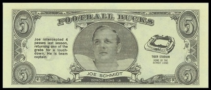 Joe Schmidt 1962 Topps Bucks football card