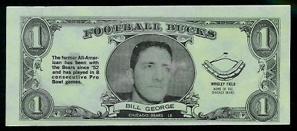 Bill George 1962 Topps Bucks football card