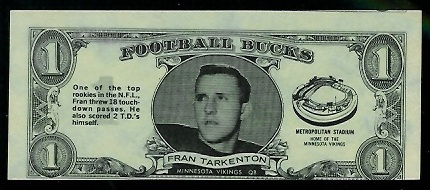 Fran Tarkenton 1962 Topps Bucks football card