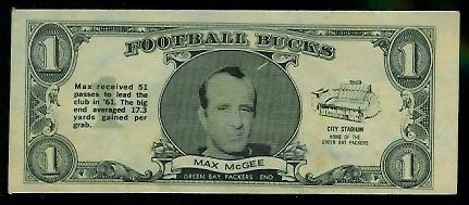 Max McGee 1962 Topps Bucks football card