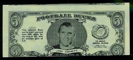 Jon Arnett 1962 Topps Bucks football card