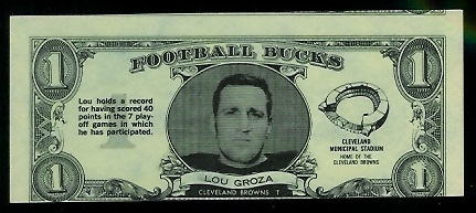 Lou Groza 1962 Topps Bucks football card