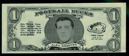 Alex Webster 1962 Topps Bucks football card