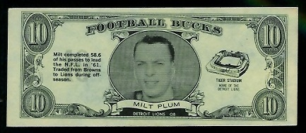 Milt Plum 1962 Topps Bucks football card