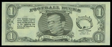 Gino Marchetti 1962 Topps Bucks football card