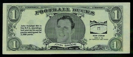 John Brodie 1962 Topps Bucks football card