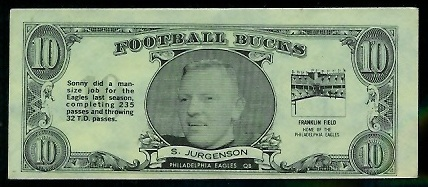 Sonny Jurgensen 1962 Topps Bucks football card