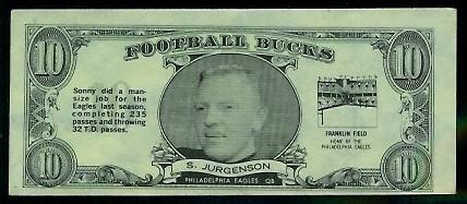 Sonny Jurgensen 1962 Topps Bucks football card