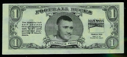 Clarence Peaks 1962 Topps Bucks football card