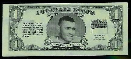 Clarence Peaks 1962 Topps Bucks football card