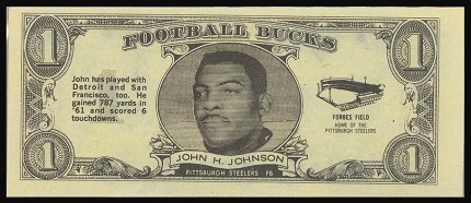 John Henry Johnson 1962 Topps Bucks football card