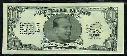 Paul Hornung 1962 Topps Bucks football card
