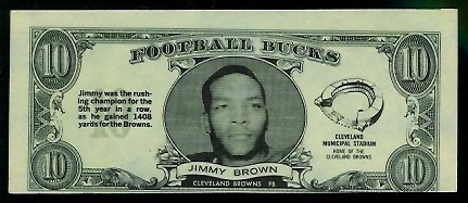 Jim Brown 1962 Topps Bucks football card