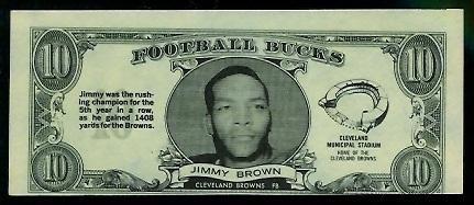 Jim Brown 1962 Topps Bucks football card