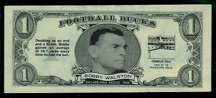 Bobby Walston 1962 Topps Bucks football card