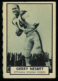 Gerry Nesbitt 1962 Topps CFL football card