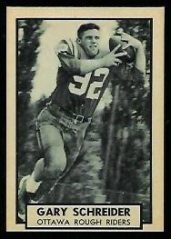 Gary Schreider 1962 Topps CFL football card