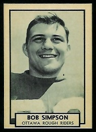 Bob Simpson 1962 Topps CFL football card